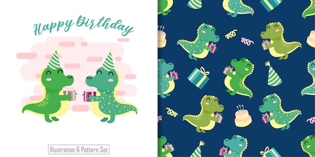 Cute crocodile animal seamless pattern with hand drawn illustration card set