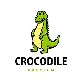 Симпатичный крокодил мультфильм логотип значок иллюстрации