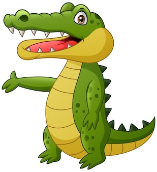 Cute crocodile cartoon waving. illustration