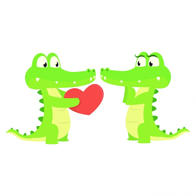 Cute crocodile give a love gift to his partner