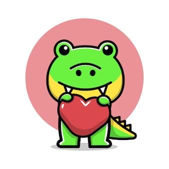 Cute crocodile hold heart cartoon vector illustration