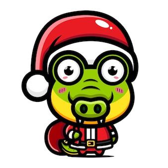 귀여운 악어가 크리스마스를 축하하고 있다