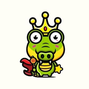 귀여운 악어 왕 캐릭터 디자인