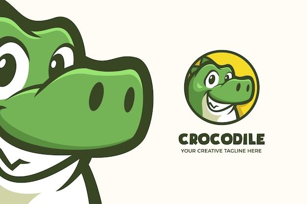 かわいいワニのマスコットのキャラクターのロゴのテンプレート