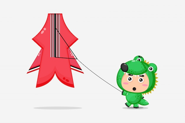 Cute crocodile mascot playing with kites