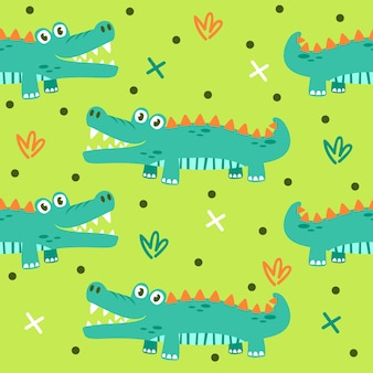 Cute crocodile pattern illustrations