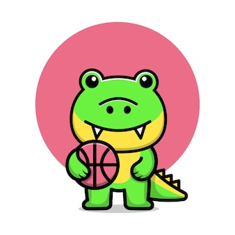 Cute crocodile play basketball cartoon vector illustration