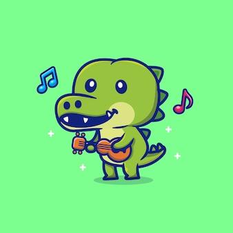 ギターを弾くかわいいワニ