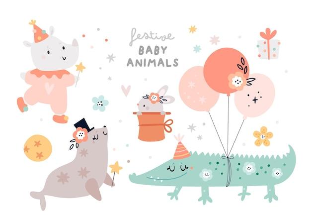 파티 장식 요소와 귀여운 악어 바다 물개 토끼 토끼 코뿔소