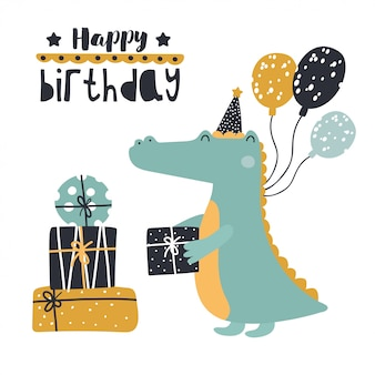 Cute crocodile with birthday presents.