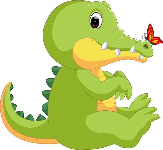 Cute crocodile with butterfly