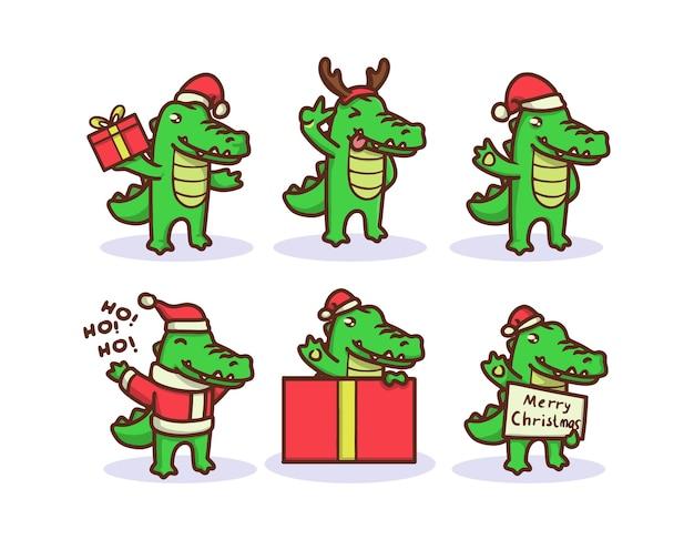 クリスマスの衣装でかわいいワニ