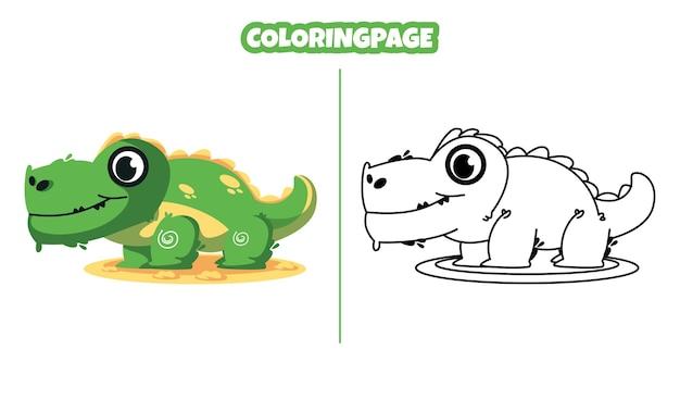 아이들에게 적합한 색칠 공부 페이지가 있는 귀여운 악어