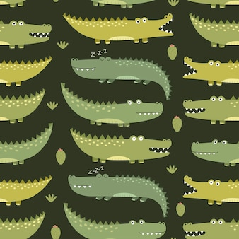 Cute crocodiles seamless pattern