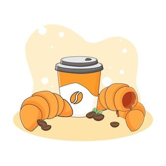 かわいいクロワッサンとコーヒーのアイコンイラスト。甘い食べ物やデザートアイコンのコンセプト。漫画のスタイル