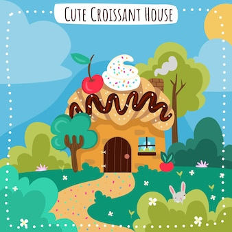 Cute croissant house in the woods