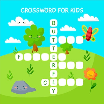 Cute crossword in english with smiley nature elements