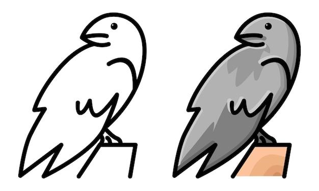 Раскраска милая ворона
