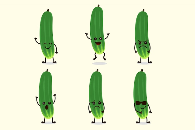 Cute cucumber vegetable character isolated in multiple expressions