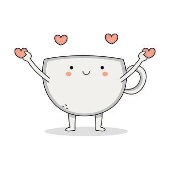 愛を広めるかわいいカップ漫画のキャラクター