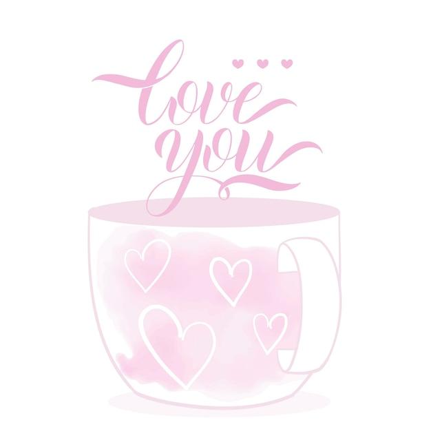 Cute cup in cartoon style. valentines day theme. hand drawn lettering. vector illustration. elements for greeting card, poster, banners. t-shirt, notebook and sticker design