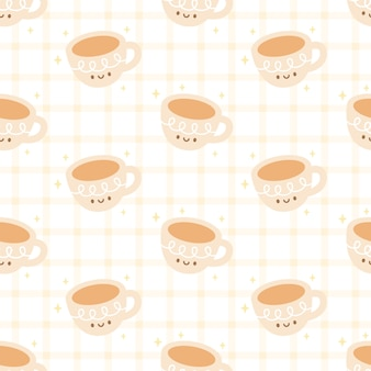 Cute cup of coffee seamless pattern