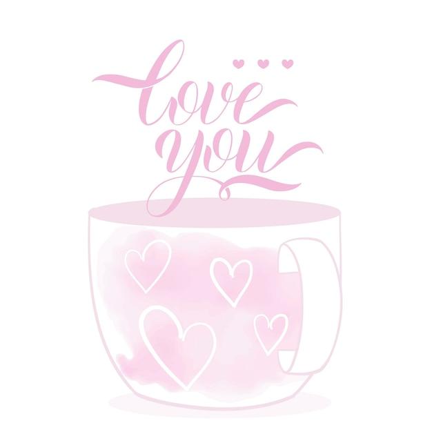 Милая чашка в мультяшном стиле. тема дня святого валентина. рисованной надписи. векторная иллюстрация. элементы для поздравительных открыток, плакатов, баннеров. дизайн футболки, блокнота и стикеров