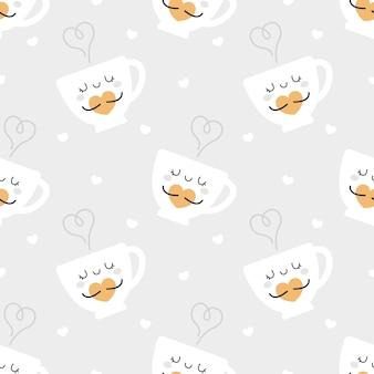 かわいい一杯のコーヒーのシームレスなパターン背景