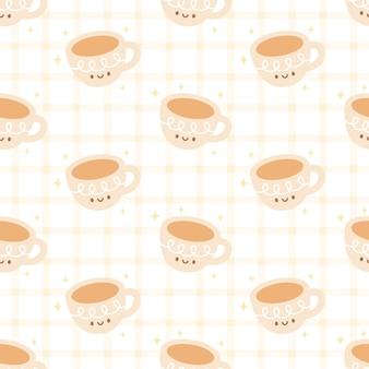 コーヒーのシームレスなパターンのかわいいカップ