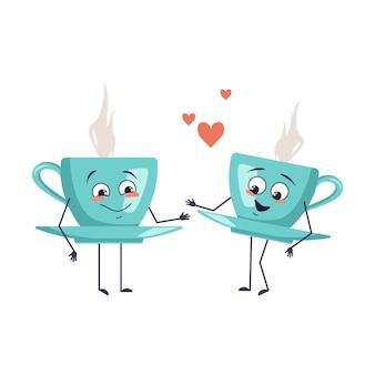 사랑의 감정, 웃는 얼굴, 팔, 다리가 있는 귀여운 차 캐릭터. 하트가 있는 웃기거나 행복한 영웅, 머그컵은 카페와 사랑에 빠진다. 벡터 평면 그림