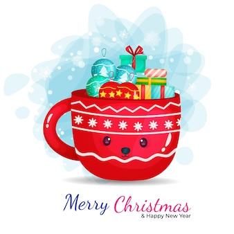 Милая чашка с иллюстрацией шаржа подарка на рождество.