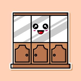 かわいい食器棚の漫画のデザイン