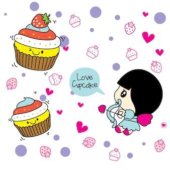 귀여운 컵 케이크와 큐피드