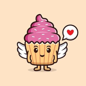かわいいカップケーキエンジェル。食品キャラクターアイコンイラスト