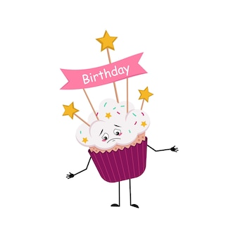 Cute cupcake character with sad emotions depressed face down eyes arms and legs sweet food with deco...