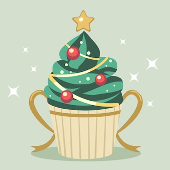 The cute cupcake of christmas tree with star and gold ribbon
