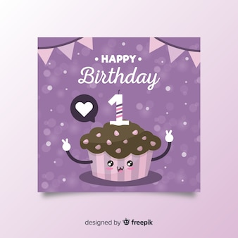 Cute cupcake first birthday card