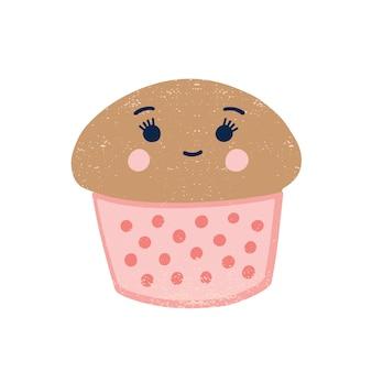 かわいいカップケーキフラットイラスト