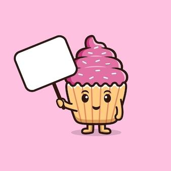 空白のテキストボードを保持しているかわいいカップケーキ。食品キャラクターアイコンイラスト