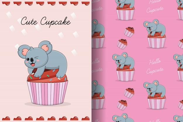 Cute cupcake koala seamless pattern and card