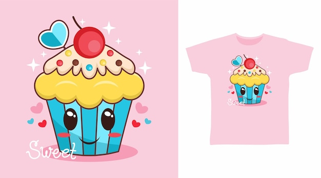 Симпатичный дизайн футболки кекс