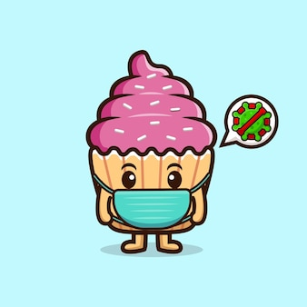 Cute cupcake wearing mask to prevention virus. food character icon illustration