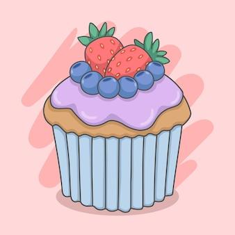 블루 베리와 딸기와 함께 귀여운 컵 케 익