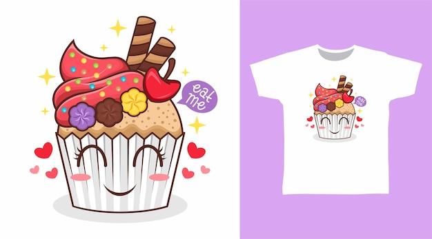 キャンディーtシャツデザインのかわいいカップケーキ