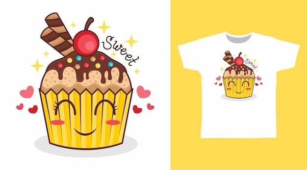 甘い桜のtシャツのデザインとかわいいカップケーキ