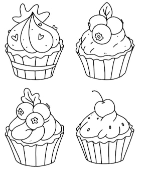 Cute cupcakes coloring page. cupcake set.outline doodle vector illustration.a set of muffins .