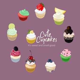 Cute cupcakes illustration