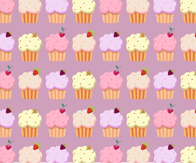 Cute cupcakes pattern in pastel colors. sweet dessert poster, banner template