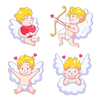 Cute cupid angel character with wings