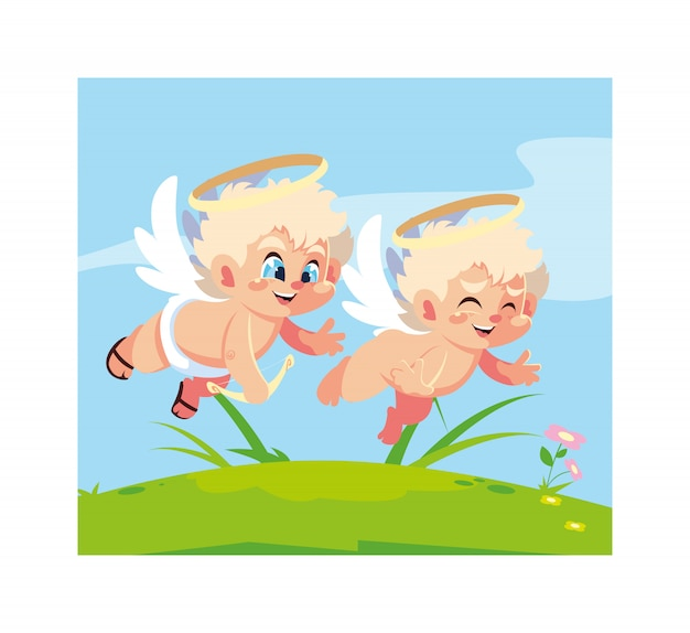 Милые ангелы купидона в разных позах, день святого валентина